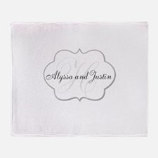 Elegant Monogram and Name Design Throw Blanket