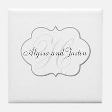 Elegant Monogram and Name Design Tile Coaster