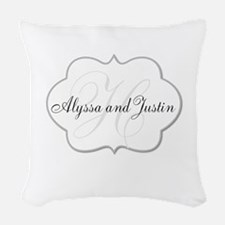 Elegant Monogram and Name Design Woven Throw Pillo