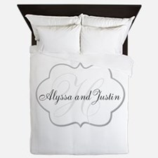 Elegant Monogram and Name Design Queen Duvet