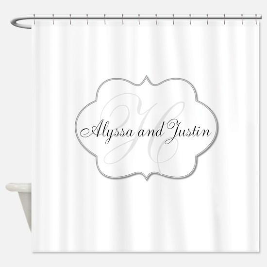 Elegant Monogram and Name Design Shower Curtain