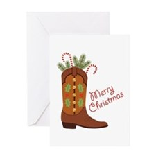 Western Cowboy Boot Merry Christmas Greeting Cards