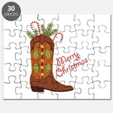 Western Cowboy Boot Merry Christmas Puzzle