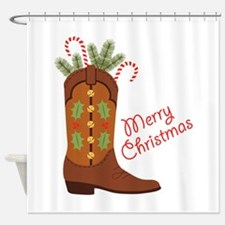 Western Cowboy Boot Merry Christmas Shower Curtain