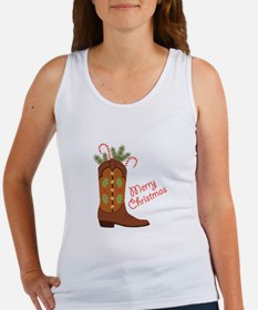 Western Cowboy Boot Merry Christmas Tank Top