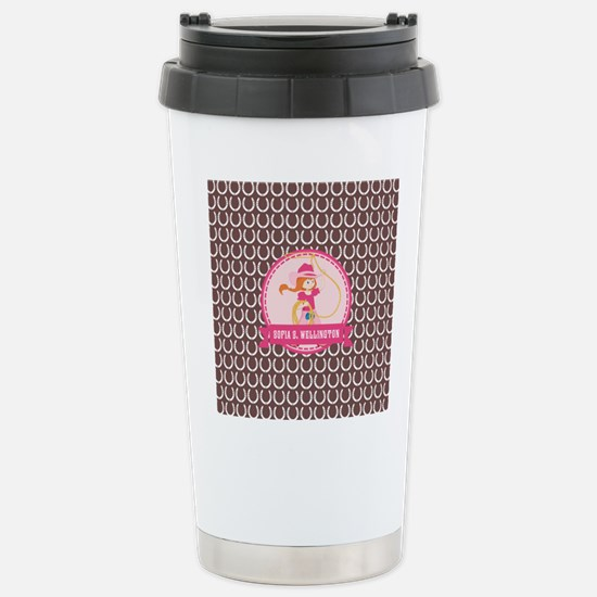 Brown and Pink Cowgirl Stainless Steel Travel Mug