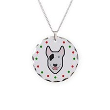 Bull Terrier, Happy Holidots Necklace Circle Charm