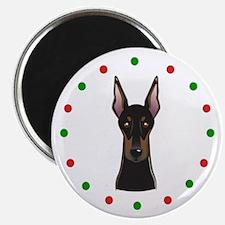 "Doberman, Happy Holidots 2.25"" Magnet (10 pack)"