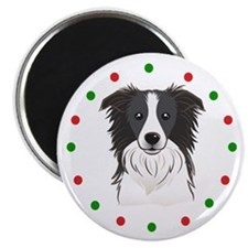 """Border Collie, Happy Holido 2.25"""" Magnet (10 pack)"""