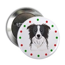 """Border Collie, Happy Holido 2.25"""" Button (10 pack)"""