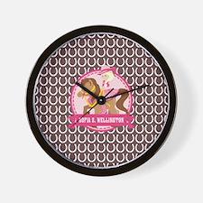 Custom Name Cowgirl Horseshoe Pattern Wall Clock