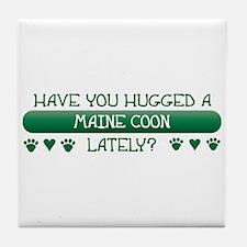 Hugged Maine Coon Tile Coaster