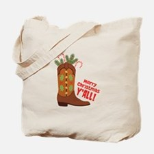 Western Cowboy Boot Merry Christmas Slang Tote Bag