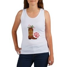 Western Cowboy Boot Merry Christmas Slang Tank Top