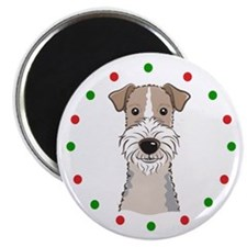"Fox Terrier, Happy Holidots 2.25"" Magnet (10 pack)"