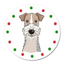 Fox Terrier, Happy Holidots Round Car Magnet