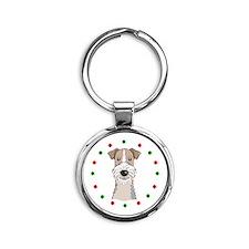 Fox Terrier, Happy Holidots Round Keychain