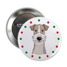 "Fox Terrier, Happy Holidots 2.25"" Button (10 pack)"