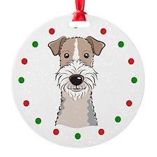 Fox Terrier, Happy Holidots Ornament
