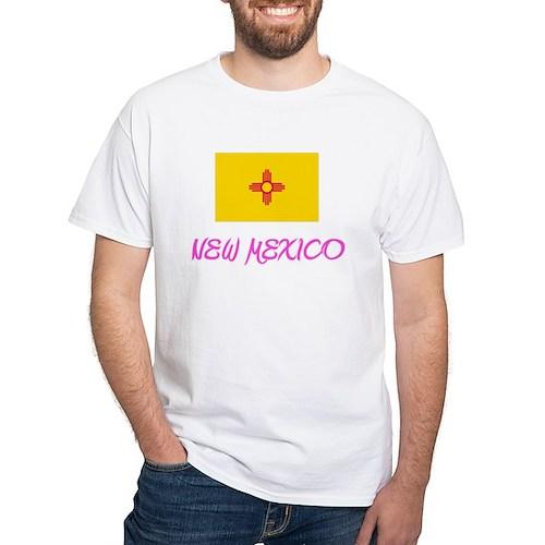 New Mexico Flag Artistic Pink Design T-Shirt