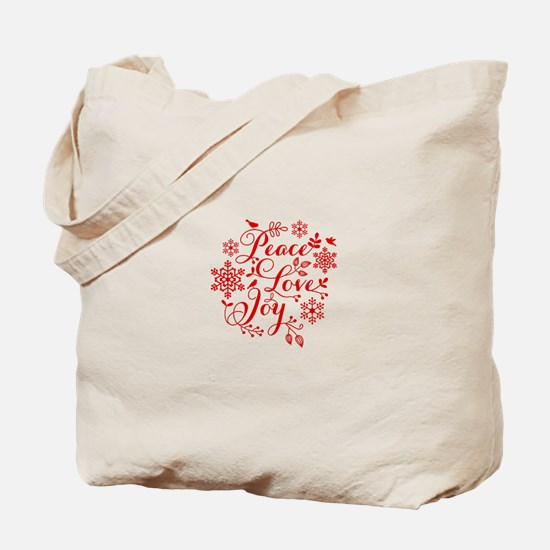 Peace, Love, Joy Tote Bag