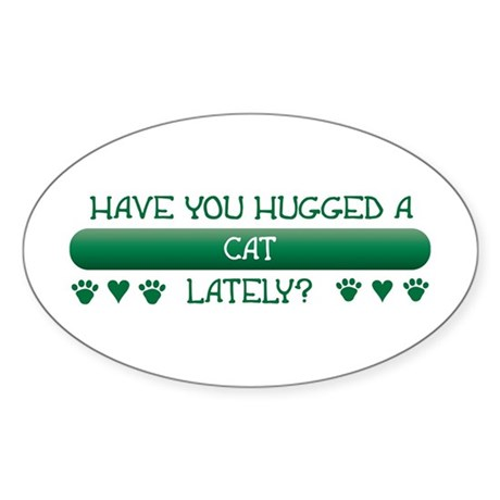 Hugged Cat Oval Sticker