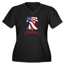 Liberty Bell Women's Plus Size V-Neck Dark T-Shirt