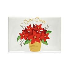 Christmas Poinsettia Plant Good Cheer Magnets