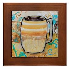 Stripped Coffee Mug Framed Tile