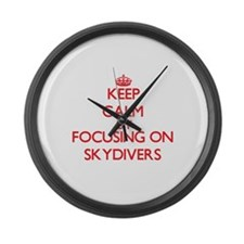 Keep Calm by focusing on Skydiver Large Wall Clock