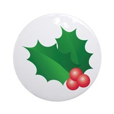 Holly And Berries Ornament (round)