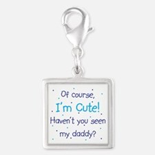 Cute Like Daddy Silver Square Charm