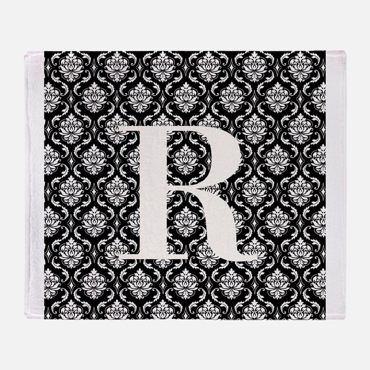 Personalizable Initial Black Damask Throw Blanket
