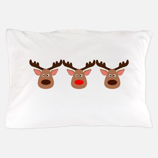Red Nosed Reindeer Friends Pillow Case