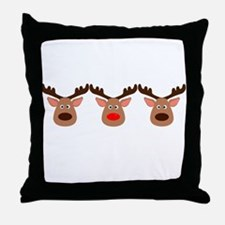 Red Nosed Reindeer Friends Throw Pillow