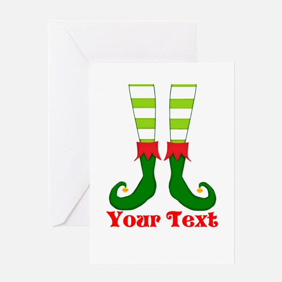 Personalizable Funny Elf Feet Greeting Cards