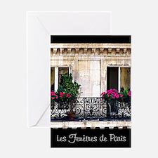 Windows Of Paris-Railing Greeting Card