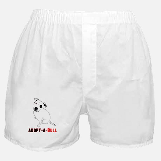White Pitbull Puppy Adopt-a-Bull Boxer Shorts