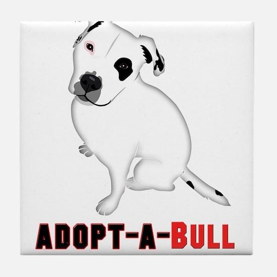 White Pitbull Puppy Adopt-a-Bull Tile Coaster
