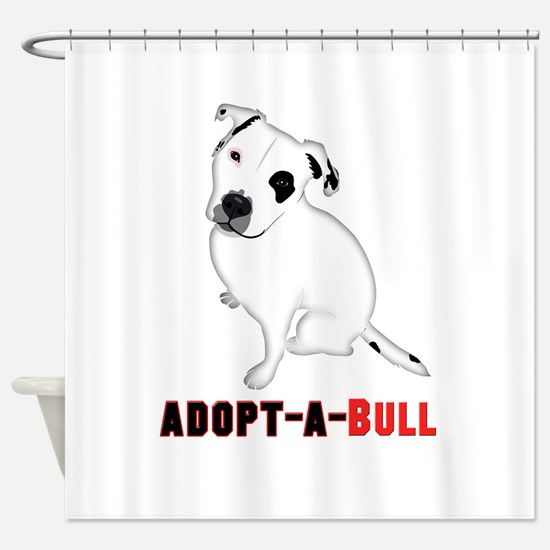 White Pitbull Puppy Adopt-a-Bull Shower Curtain