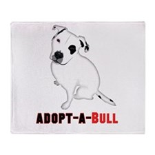 White Pitbull Puppy Adopt-a-Bull Throw Blanket