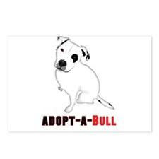 White Pitbull Puppy Adopt Postcards (Package of 8)