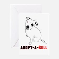 White Pitbull Puppy Adopt-a-Bull Greeting Cards