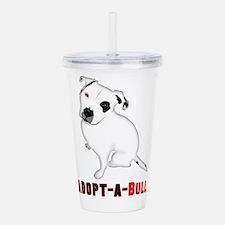 White Pitbull Puppy Ad Acrylic Double-wall Tumbler