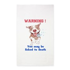 Warning Pitbull Licked to death Area Rug