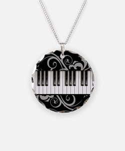 Piano Keyboard Necklace Circle Charm
