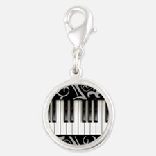 Piano Keyboard Silver Round Charm