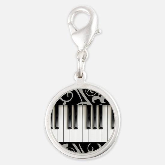 Piano Keyboard Silver Round Charm