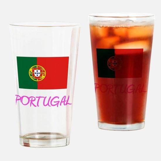 Portugal Flag Artistic Pink Design Drinking Glass