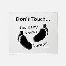 Karate Baby Black Throw Blanket